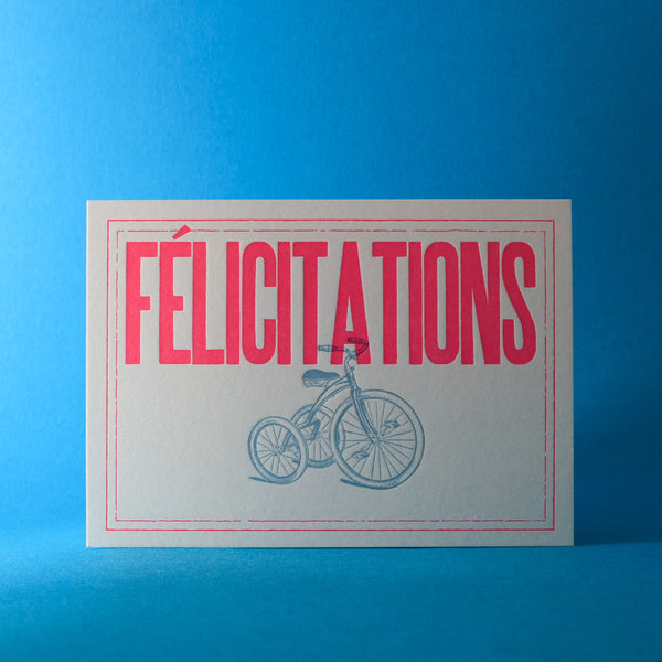Carte letterpress Félicitations rose fluo - Tricycle