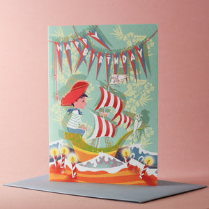 Carte double Anniversaire Pirate
