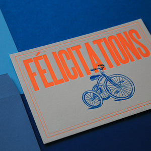 Carte letterpress Félicitations orange - Tricycle
