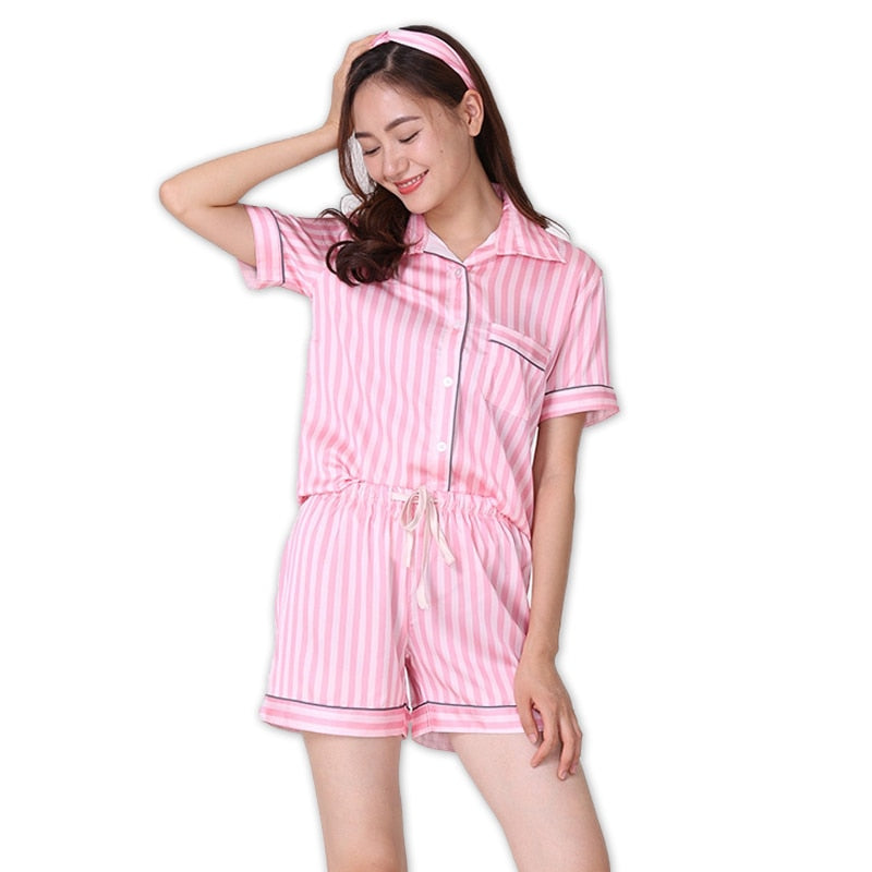 Sexy Silk Satins Pink Stripe Short Pyjamas