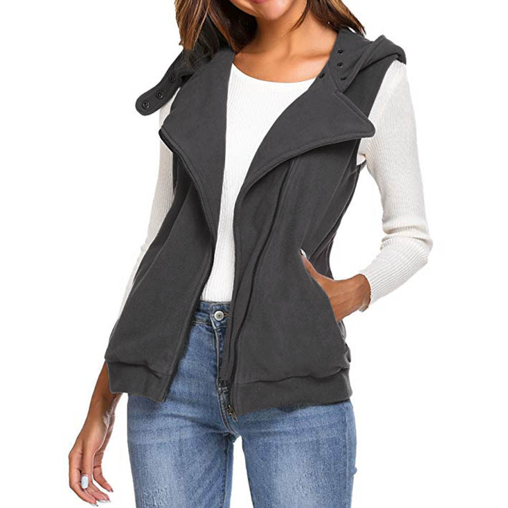 Women Zip Sleeveless Hooded Waistcoat Jacket