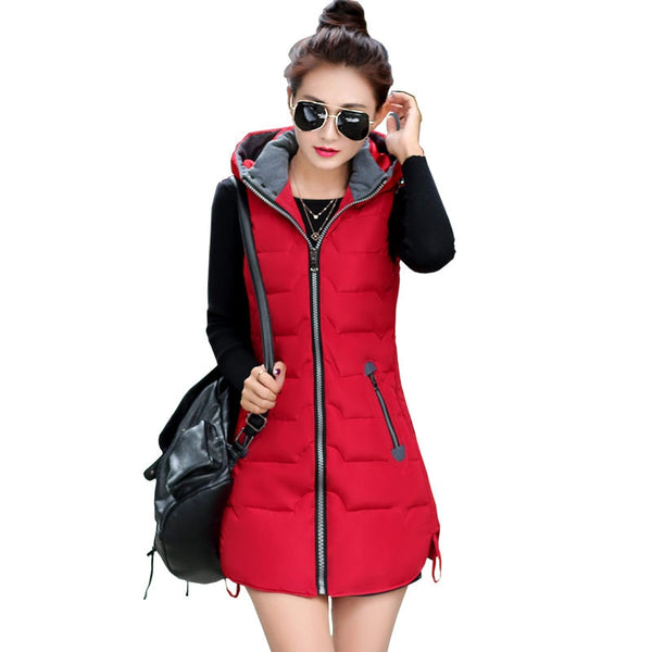 Women Sleeveless Jacket Hood