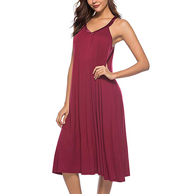 Women's V-Neck Sexy Sleeveless Nightdress