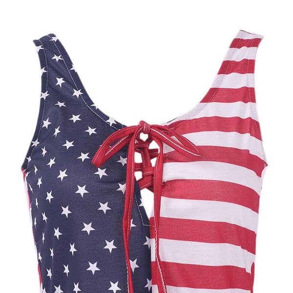 Girls USA American Flag Printed Crop Top