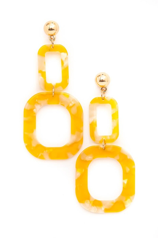 Dangling Dual Squared Acetate Drop Earrings