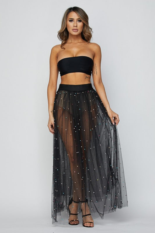 By The Sea Pearl Mesh Tulle Skirt