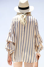 Ruched Sleeve Stripe Woven Tunic Top