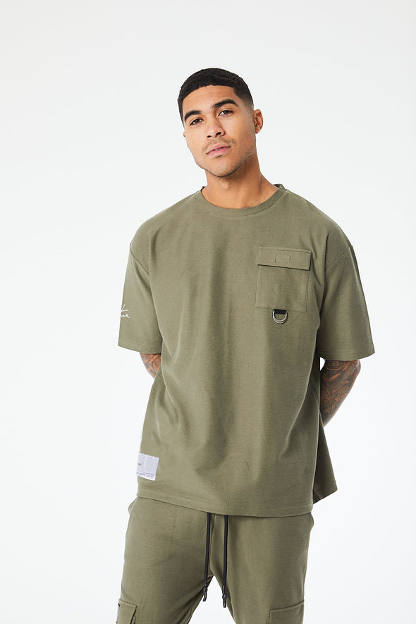 REVERSE LOOPBACK CARGO BOX FIT T-SHIRT
