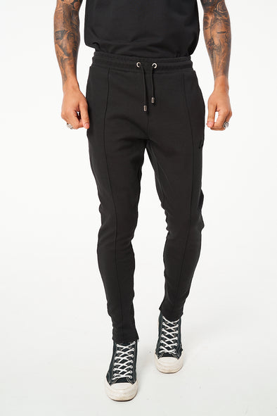SIGNATURE FLOCK JOGGERS WITH PIN TUCK