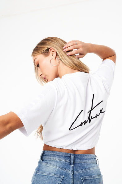 SATIN TAPED TIE HEM SIGNATURE CROP T-SHIRT