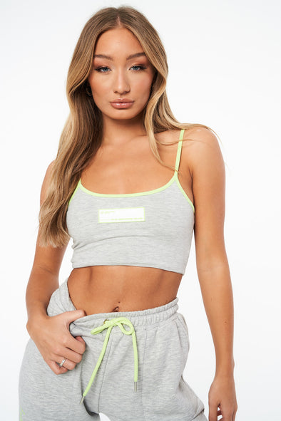 CONTRAST TRIM RUBBER PATCH CROP TOP