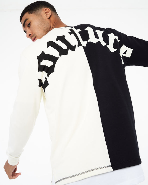 SPLIT PANEL GOTHIC LOGO CREW NECK