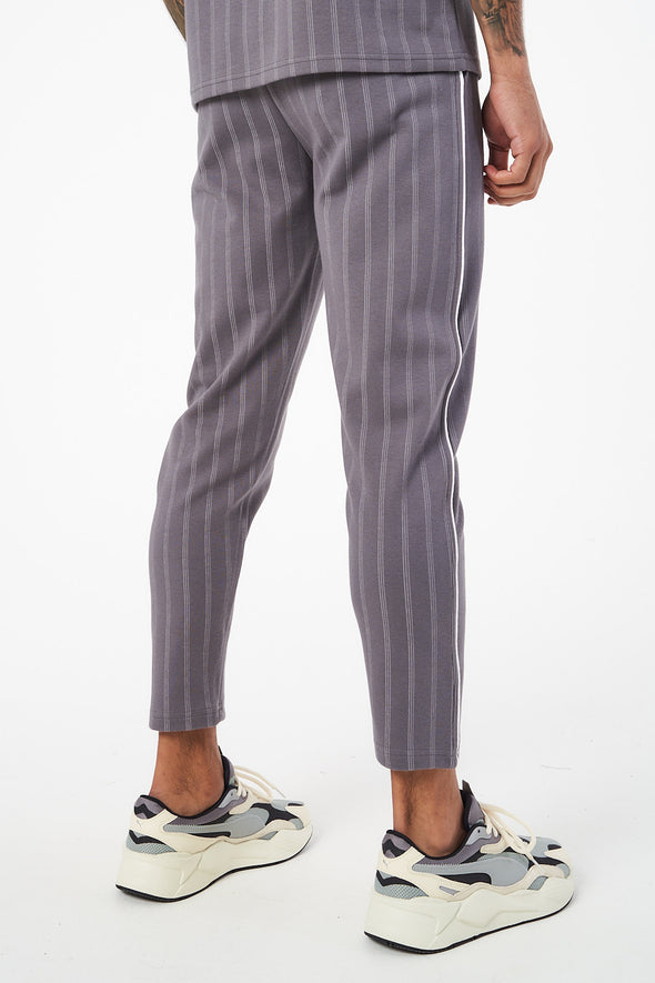 JACQUARD PINSTRIPE PIPED JOGGERS WITH RUBBER BADGE