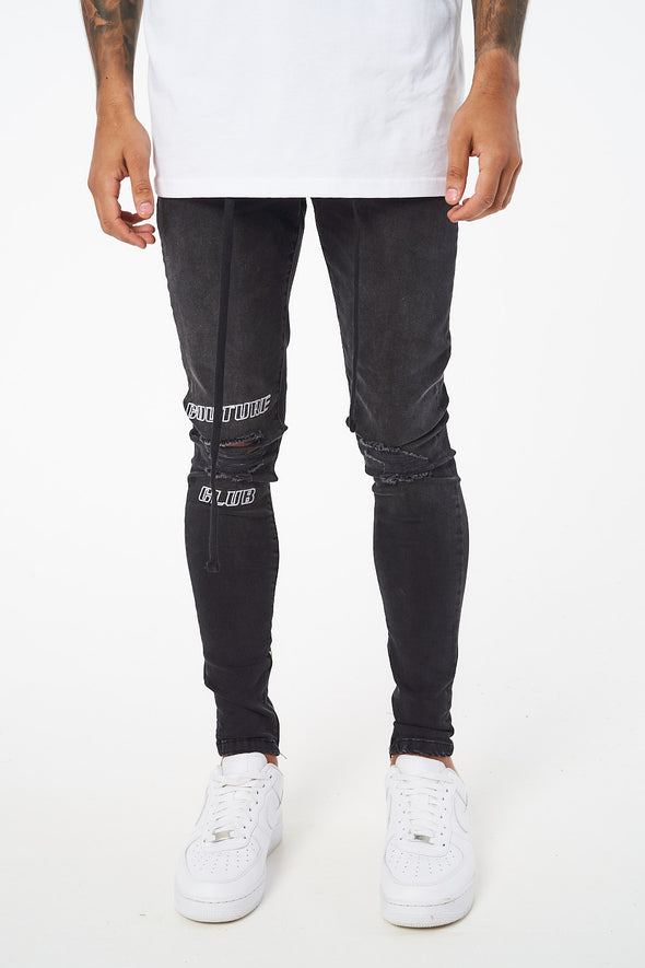 EMBROIDERED KNEE SIGNATURE SKINNY JEANS