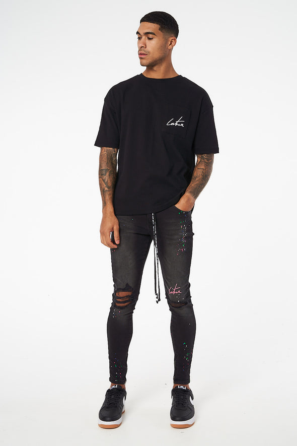 DISTRESSED BOX FIT POCKET TEE