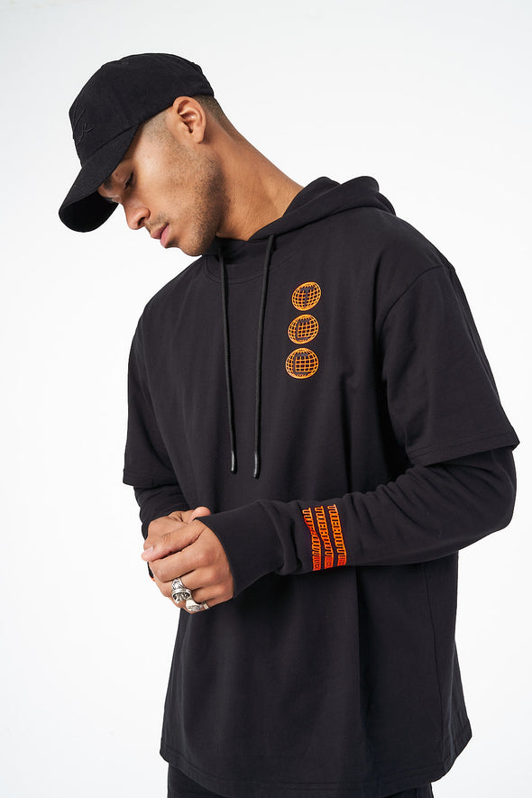 BLACK NEON LOGO HOODED T SHIRT