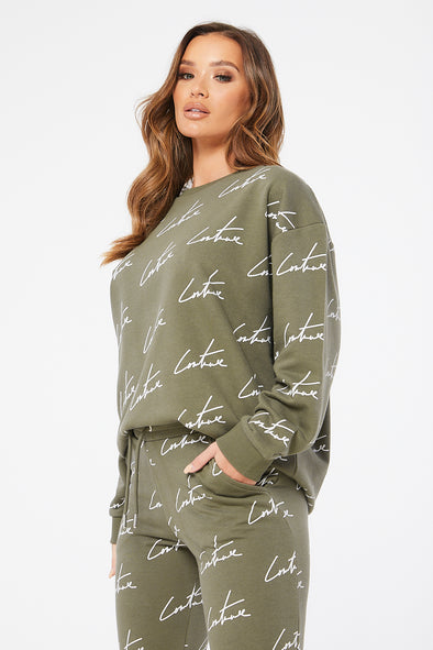 SIGNATURE REPEAT PRINT SWEATER