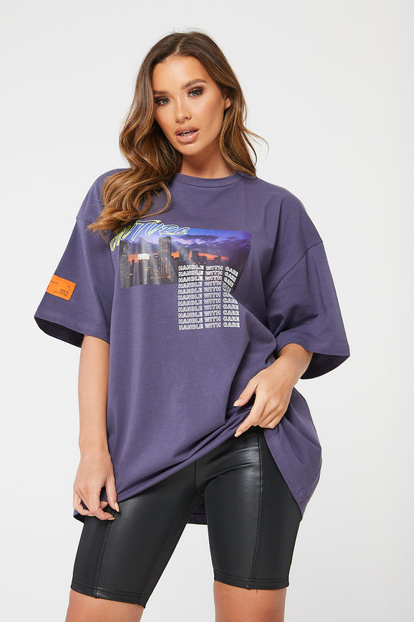 NEON DETAIL GRAPHIC PRINT OVERSIZED T-SHIRT