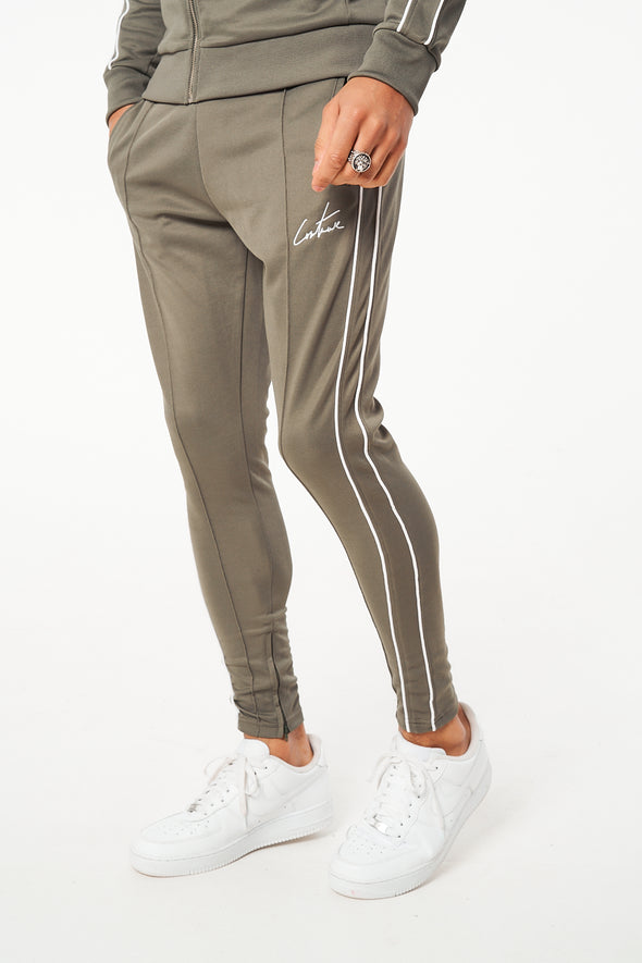 PIPED DETAIL SMART JOGGERS WITH PIN TUCK