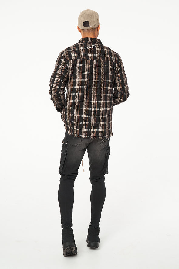 ZIP FRONT CHECKED SHIRT IN OVERSIZED FIT