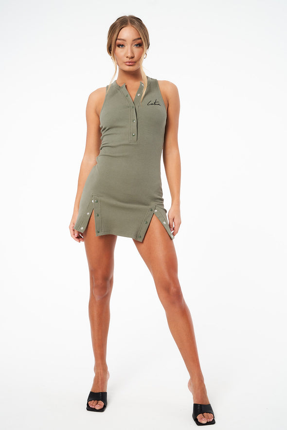 COUTURE LOUNGE RACER FITTED FRONT DRESS