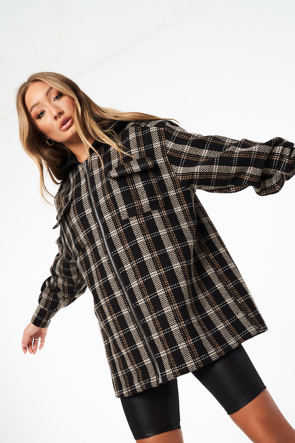 HOODED CHECK ZIP THROUGH SHIRT