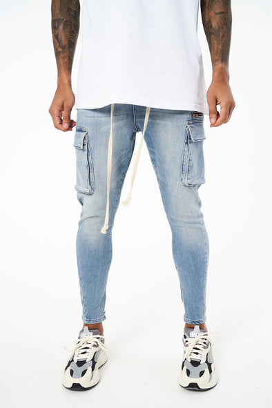CARGO POCKET SLIM FIT DENIM JEANS
