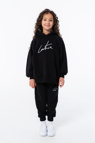 KIDS BLACK ESSENTIAL SIGNATURE HOODIE