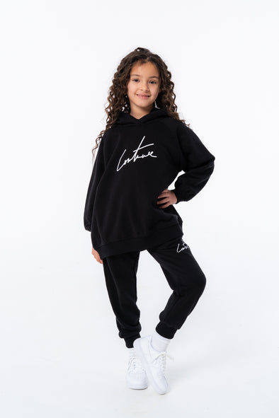KIDS BLACK ESSENTIAL SIGNATURE JOGGERS