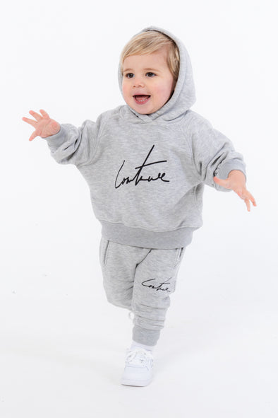 KIDS GREY ESSENTIAL SIGNATURE HOODIE