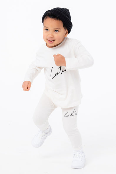 KIDS OFF WHITE ESSENTIAL SIGNATURE LEGGINGS