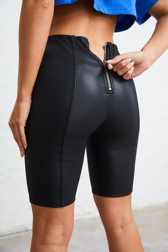 ZIP BACK LEATHER LOOK CYCLING SHORTS