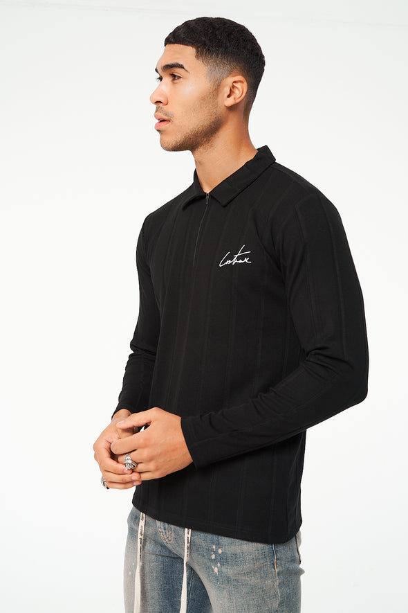 RIBBED ZIPPER LONG SLEEVE REGULAR FIT POLO