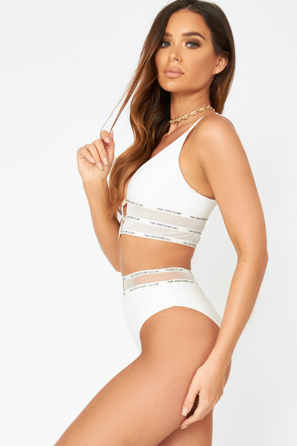 MESH PANELLED HIGH WAIST BIKINI BOTTOMS