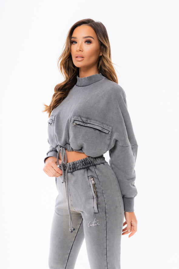 ZIP DETAIL FUNNEL NECK TIE HEM SWEATER