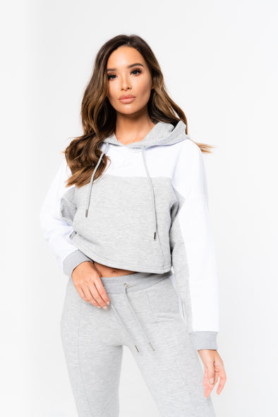 CONTRAST STRIPE CROPPED HOODIE