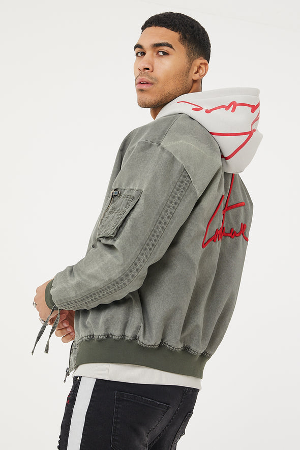 SIGNATURE WASHED BOMBER JACKET