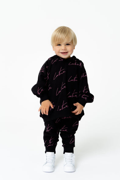 KIDS BLACK SIGNATURE REPEAT PRINT HOODIE