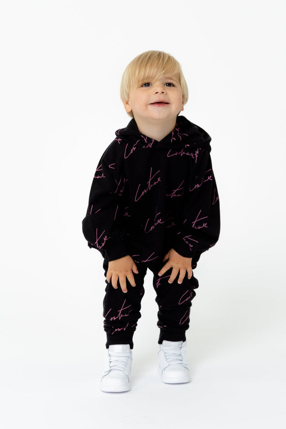 KIDS BLACK SIGNATURE REPEAT PRINT JOGGERS