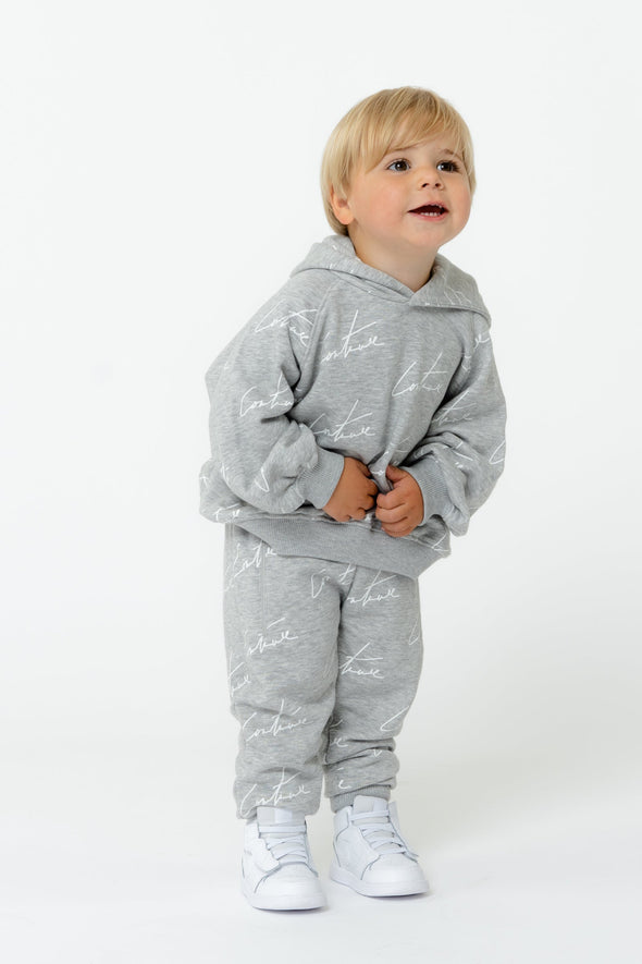 KIDS GREY SIGNATURE REPEAT PRINT HOODIE