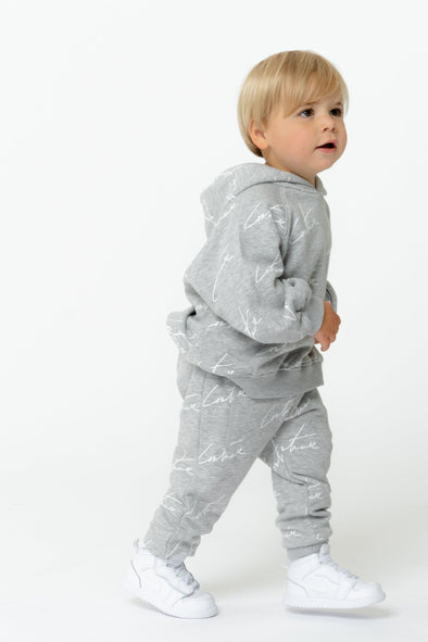 KIDS GREY SIGNATURE REPEAT PRINT JOGGERS