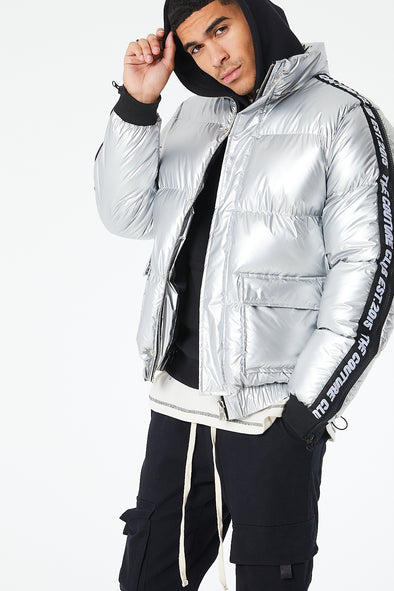 TAPED METALLIC PUFFER JACKET