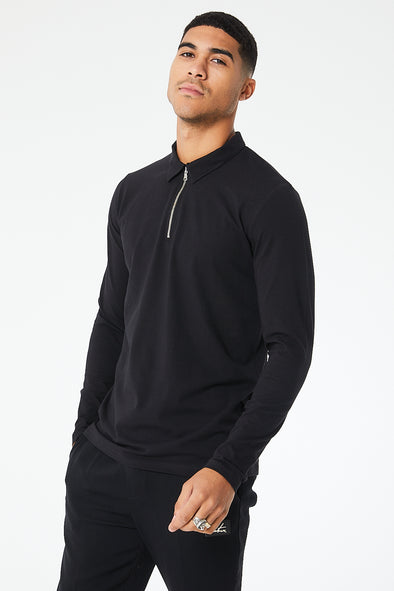 ZIP DETAIL LONG SLEEVED POLO TOP