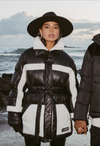 SHEARLING PANELLED BELTED PUFFER