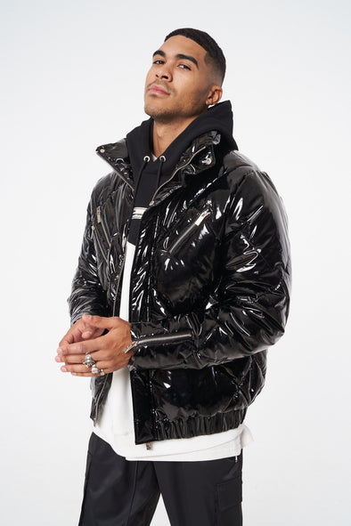LUXE VINYL ZIP DETAIL QUILTED PUFFER WITH FUR HOODIE