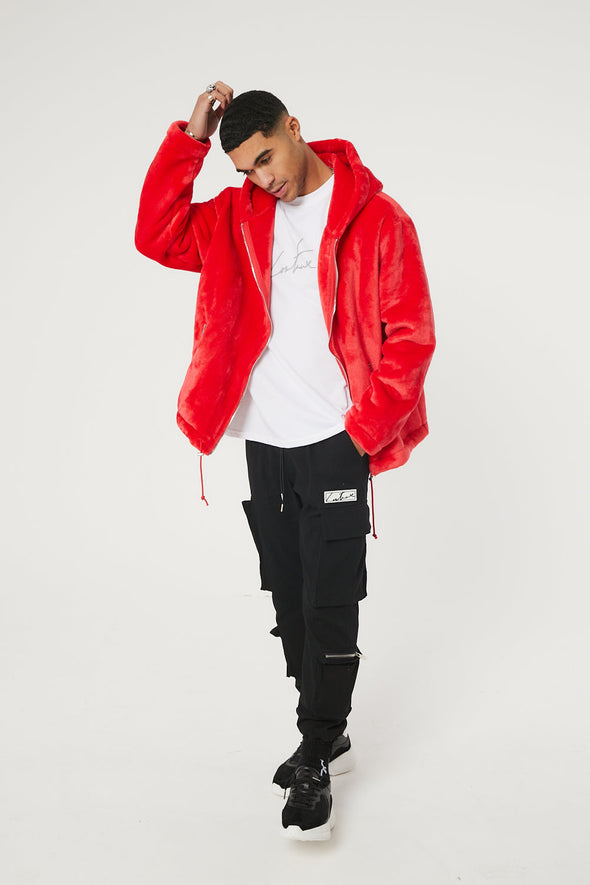 SIGNATURE FUR APPLIQUE RED HOODED JACKET