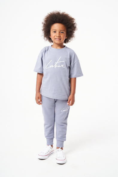 KIDS BLUE ESSENTIAL SIGNATURE OVERSIZED T-SHIRT