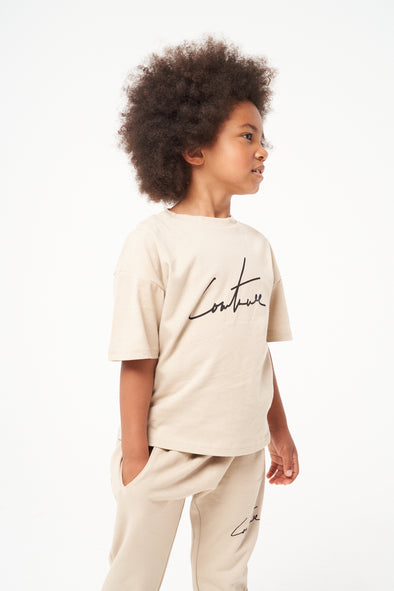 KIDS BEIGE ESSENTIAL SIGNATURE OVERSIZED T-SHIRT