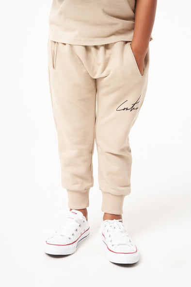 KIDS BEIGE ESSENTIAL SIGNATURE JOGGERS
