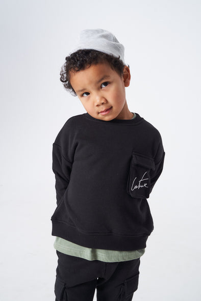 KIDS 3D POCKET JERSEY SWEATER BLACK